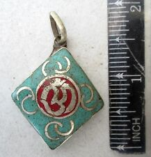 Vintage Tibet Tibetan Buddhist Silver, Turquoise & Red Coral Amulet Eternal Om