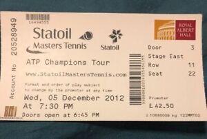 Statoil Maters Tennis (Dec 2012) Used Ticket