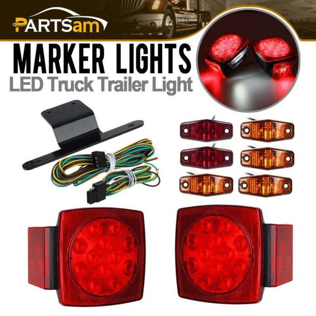 Submersible Truck Trailer SQ LED Light kit,Stop Turn Tail,Marker,Bracket/&Harness