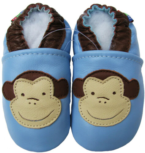 carozoo soft sole leather baby shoes monkey light blue 18-24m