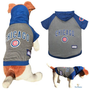 cheap for discount e967b 0ef1f Details about MLB Pet Fan Gear CHICAGO CUBS Dog Shirt Hoodie Hooded Dog  T-Shirt Hood for Dogs