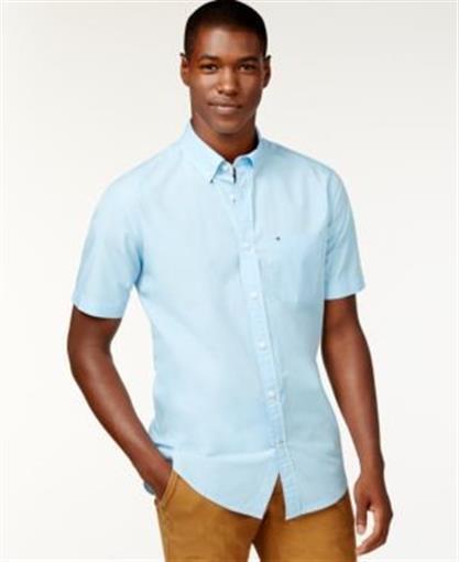 3ed5f397f Buy Tommy Hilfiger Big Tall Maxwell Short Sleeve Button Down Shirt Blue Mens  2xl online | eBay
