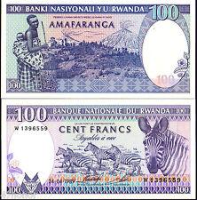 Zebra African Animals P18 UNC Rwanda 100 francs 1982.08.01