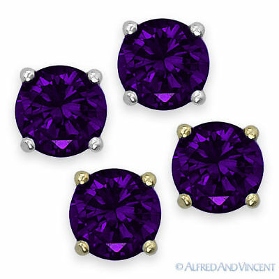 3.00 CT Princess Cut Tanzanite Solitaire Stud Earrings 14K Yellow Gold Over .925 Sterling Silver 6MM
