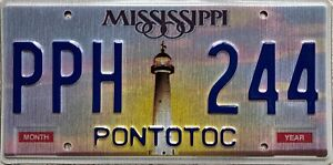 Mississippi Lighthouse Pontotoc County American License USA Number Plate PPH 244