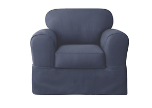 Sure Fit Cotton Twill Slipcover 2 pc Chair Slipcover Blue