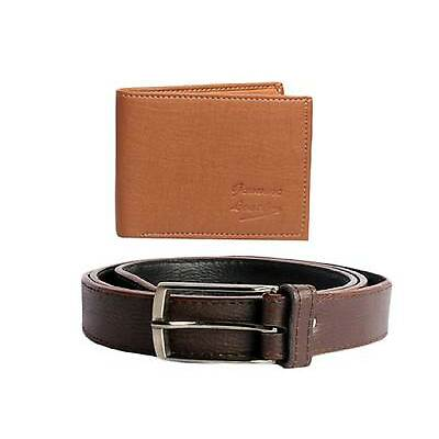 Faux Leather Wallet and Belt in Brown Color