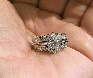 Engagement-Wedding-Bridal-Ring-Set-1-59Ct-VVS1-Round-Diamond-14k-White-Gold-Over