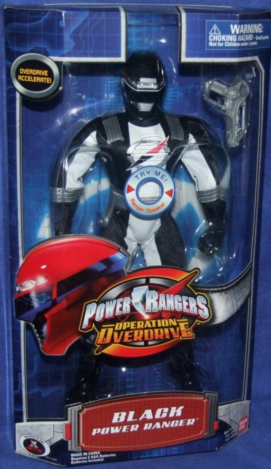 Power Rangers Operation Overdrive Black 12  Talking Ranger Factory Sealed New