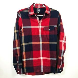 J-Crew-Mens-XS-Sportsmens-Outfitter-Flannel-Shirt-Red-Blue-Plaid-Herringbone