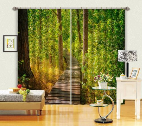 3D Forest Path Blockout Photo Curtain Printing Curtains Drapes Fabric Window AU
