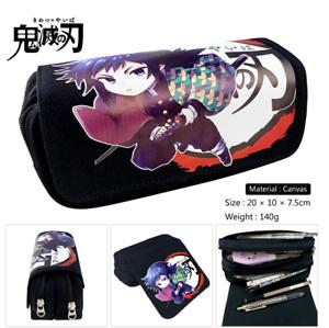 Anime  Demon Slayer Tomioka Giyuu Canvas Pencil Case Zipper Pen Bag MakeUp Pouch