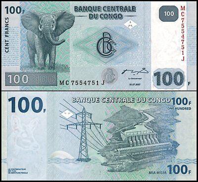 Congo 100 Francs Elephant World Banknote Animal Paper Money