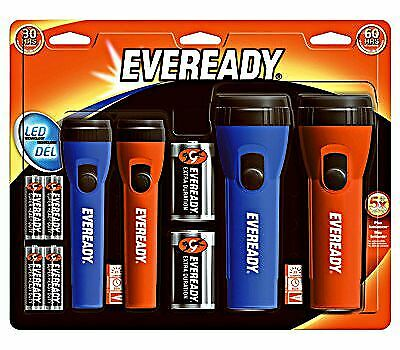 LED General Purpose Economy Flashlights 25 Lumens Red Blue Eveready 4 Pack