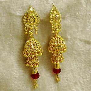 27c35aed5 Image is loading Ethnic-Traditional-Indian-Gold-Plated-Jhumka-Earring- Bollywood-