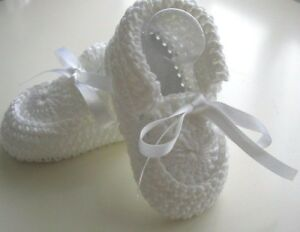 Christening-booties-shoes-White-Handmade-Leather-soles-Cotton-4-sizes-New