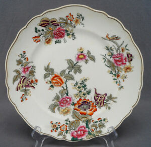 British-Multicolor-Floral-amp-Butterfly-Bone-China-Dinner-Plate-B-Circa-1830-1850
