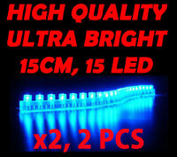 2x 15 Led Flexible Neon Accent Strip For Motorcycle/car/boat/bike/cabin 12v Blue