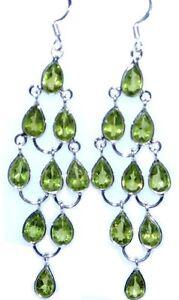 Sterling 925 silver peridot chandelier earrings birthstone 3 image is loading sterling 925 silver peridot chandelier earrings birthstone 3 mozeypictures Choice Image