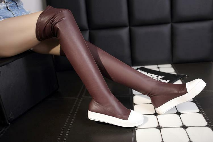 Women's Sneaker Pull On Thigh Low Flat Heels Over The Knee High Boots hot
