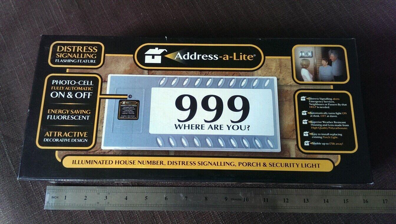 Address A-lite illuminated House Number Security Distress Alert Porch Light