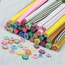 NEW 10pcs 3D Flower Nail Art Fimo Canes Stick Rods Polymer Clay Stickers Decor