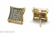 Pair Iced Crystal 18K Yellow Gold Filled 12mm Square Studs Earrings