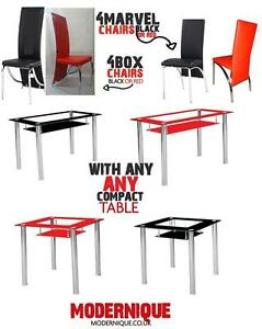small black red glass chrome dining room table and 4 chairs set 120 cm