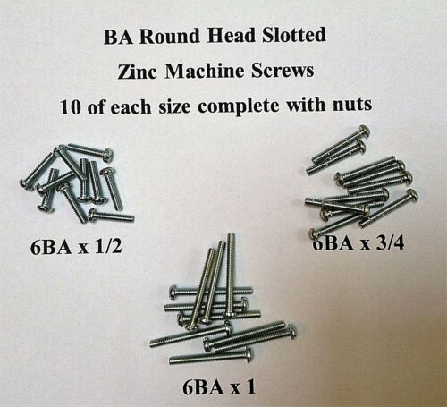 Assortiment 6BA Ronde Fendue Tête Machine Vis Zinc 6BA 10 de chaque C//W Nuts