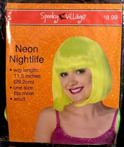 "HALLOWEEN NIP Neon Nightlife wig lime green 11 1//2/"" adult one size fits most"