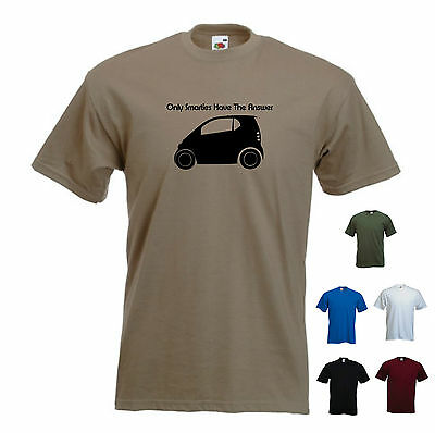 /'Only Smarties have the Answer/' Funny Men/'s Smart for Two Smart car T-shirt