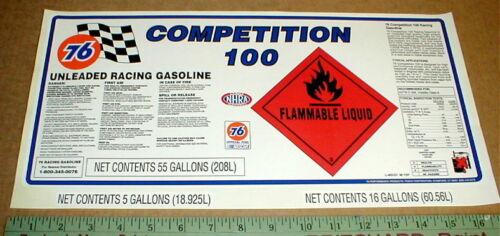 Union 76 Superstock 100-114 Octane Gasoline NASCAR LG Drag racing sticker decal