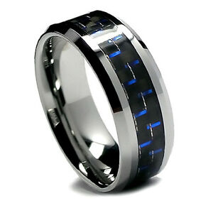 8MM Men Unisex Tungsten Wedding Band Stylish Black and Blue
