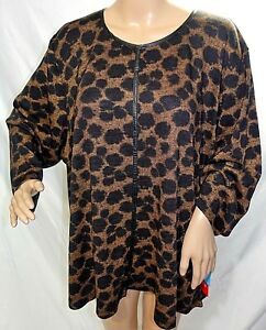 C.D. Daniels Women Plus Size 1x 2x 3x Black Brown Animal Print Top Blouse Shirt