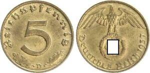 Third Reich 5 Pfennig 1937 D Prfr. 29806