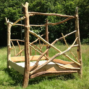 Image is loading Driftwood-Four-Poster-Canopy-Bed-Unique-Wooden-Bed- & Driftwood Four Poster Canopy Bed Unique Wooden Bed Frame Made in ...