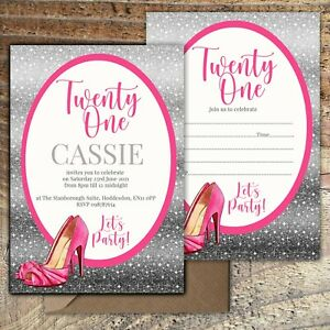 BIRTHDAY-INVITATIONS-21st-Pink-Party-Shoes-Personalised-or-Blank-Any-Age-PK-10