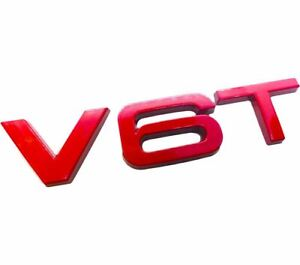Audi-V6T-SQ5-Rear-Wing-Red-Black-Glossy-Badge-Logo-Boot-Emblem-Sticker-Fender