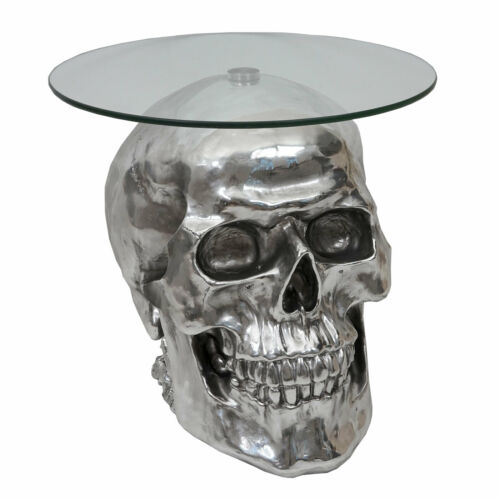 Beistelltisch Totenkopf HWC-A19, Polyresin Glastisch, silber 52x55x55cm