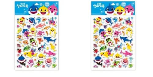 Pinkfong Sticker Soft Epoxy Shark Family For Baby Infant Kids 2P
