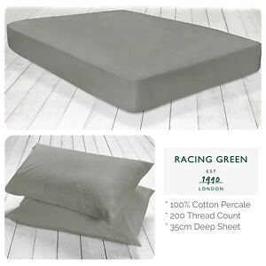 Racing-Green-Deep-Fitted-Bed-Sheets-amp-Pillowcases-Single-Double-King-Slate-Grey