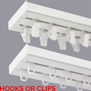 Double Curtain Rail Track Pcv Ceiling Set With Hooks Or
