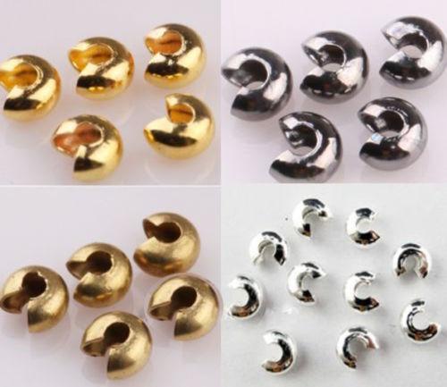 200Pcs Crimp Cubre Abalorios De Plata//Oro//Cobre//Negro 5mm 3mm 4mm