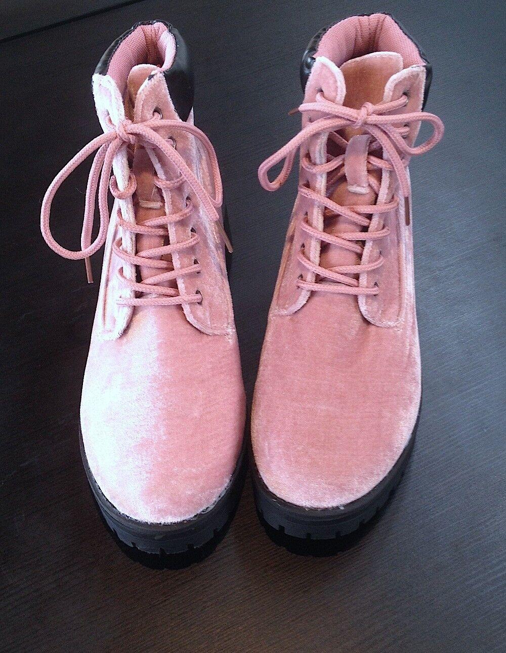 Gina Cordones Group rosado Pastel terciopelo Con Cordones Gina botas Cortas-Para Mujer 728364