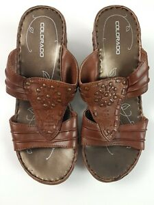 COLORADO-Brown-Leather-Wedge-Sandal-Slip-on-Mid-Heel-Mule-Women-039-s-Size-EUR-37