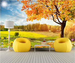 3D Yellow Tree Painting Art 261 Wall Paper Wall Print Decal Wall AJ WALLPAPER CA