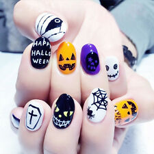 NEW 24pcs Halloween Skull Pumpkin Short False Fake Nails Art Tip Stickers N3073