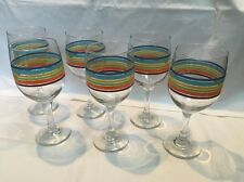 New With Tags Greenbrier International Rainbow Fiesta Mambo Stripe Wine Glasses