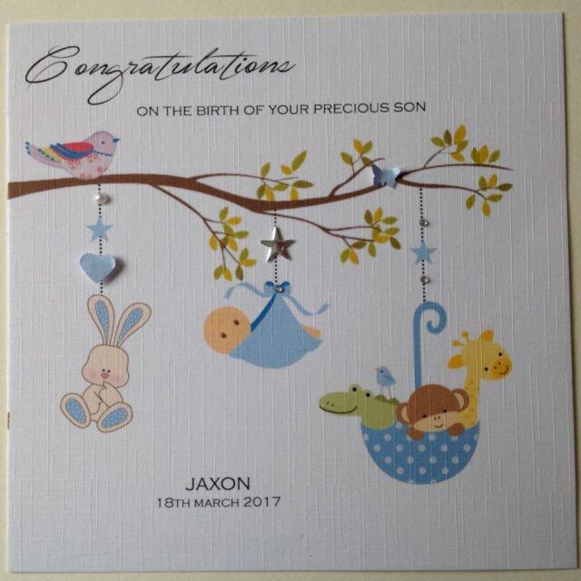 Personalised Handmade New Baby Boy Card Flower