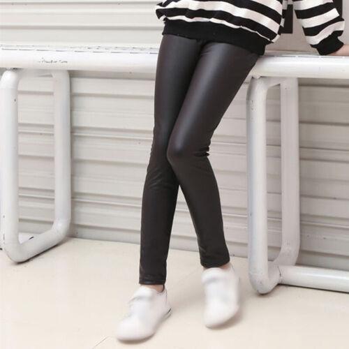 Girl Kid Wet Look Bottoms Trouser Pants Skinny Pencil Side Stripe Party Leggings